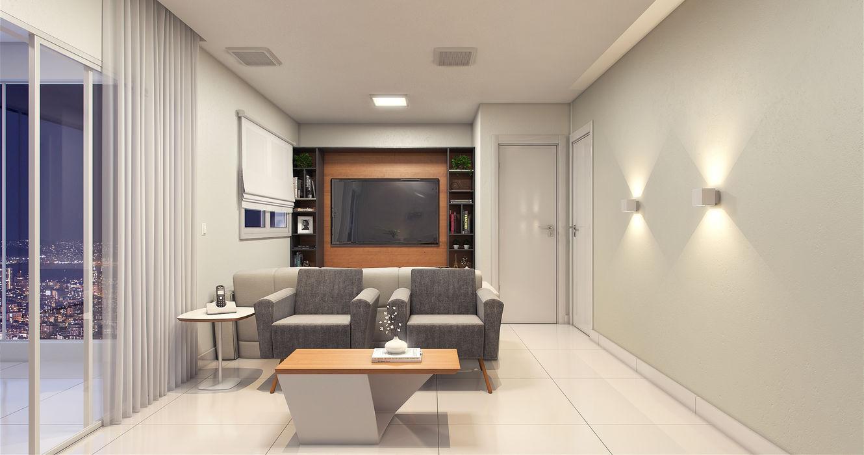 Sala de estar e TV. Estúdio j2G  Arquitetura & Engenharia Salas multimídia modernas Madeira Efeito de madeira