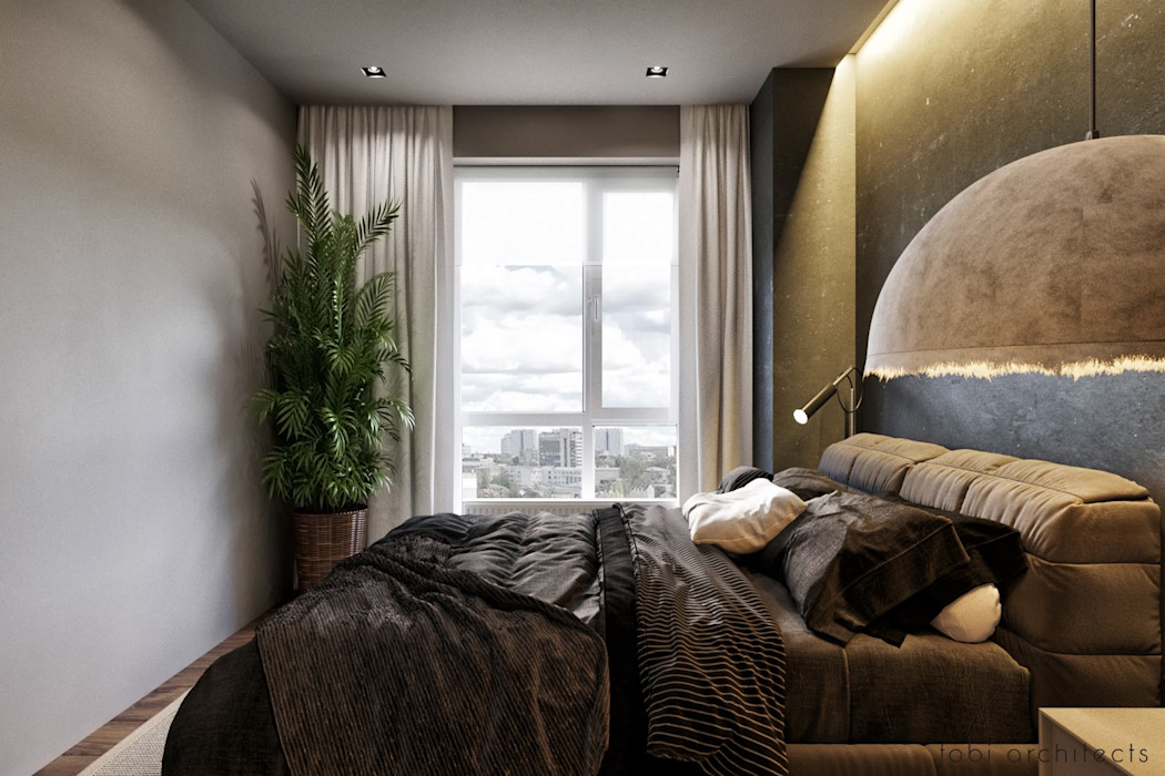 Tobi Architects Kamar Tidur Minimalis Beige