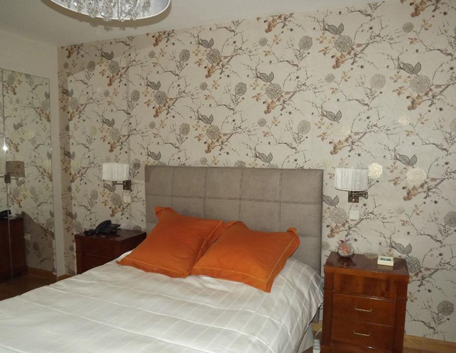 Dormitorio principal Almudena Madrid Interiorismo, diseño y decoración de interiores Dormitorios de estilo moderno Ámbar/Dorado