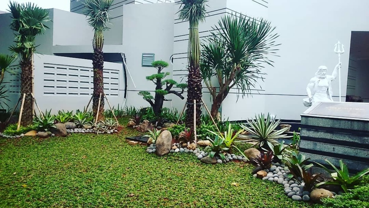 Jasa Buat Taman dan Kolam Koi Alam Asri Landscape Halaman depan Kayu Green