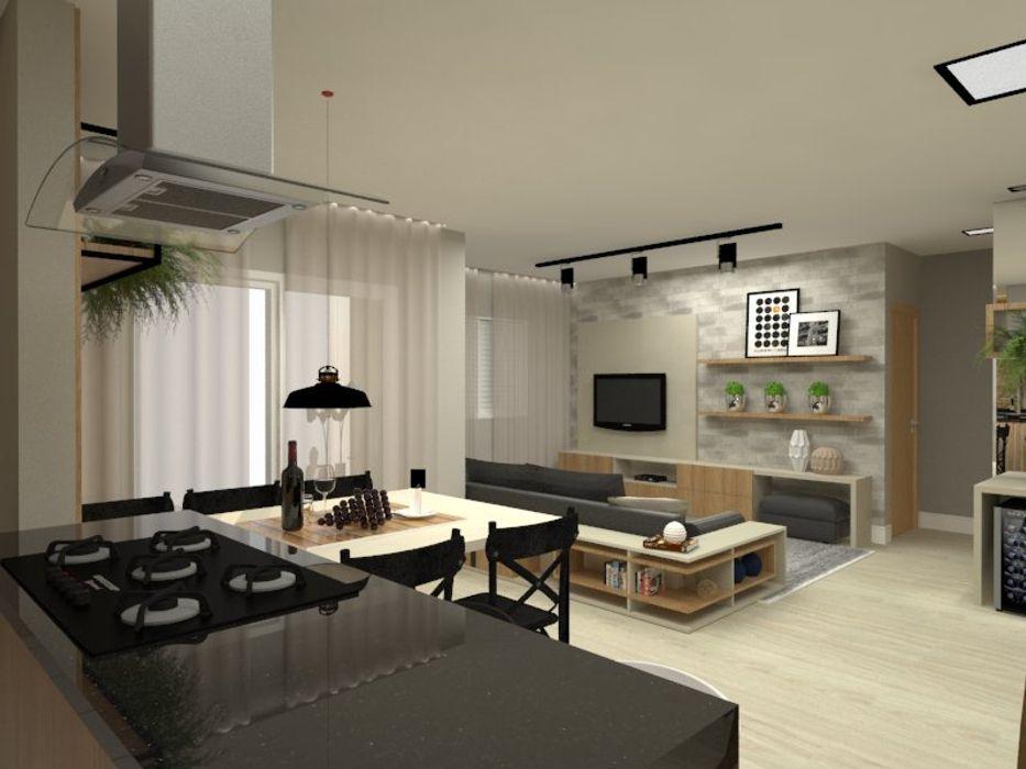 Living Bruna Ferraresi Salas de estar modernas MDF Preto
