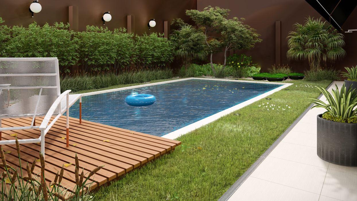 Studio MP Interiores Garden Pool Wood Wood effect