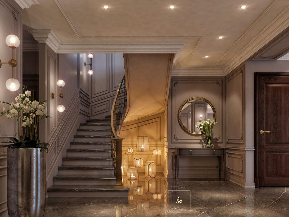 Kareem Mohammed Designs Corridor, hallway & stairsStairs Concrete Beige