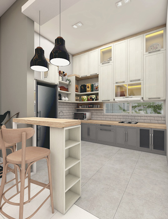 CASA.ID ARCHITECTS Built-in kitchens Engineered Wood Grey