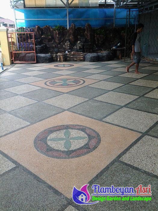 Pemasangan Lantai Carport Batu Sikat Motif Diagonal Tukang Taman Surabaya - flamboyanasri