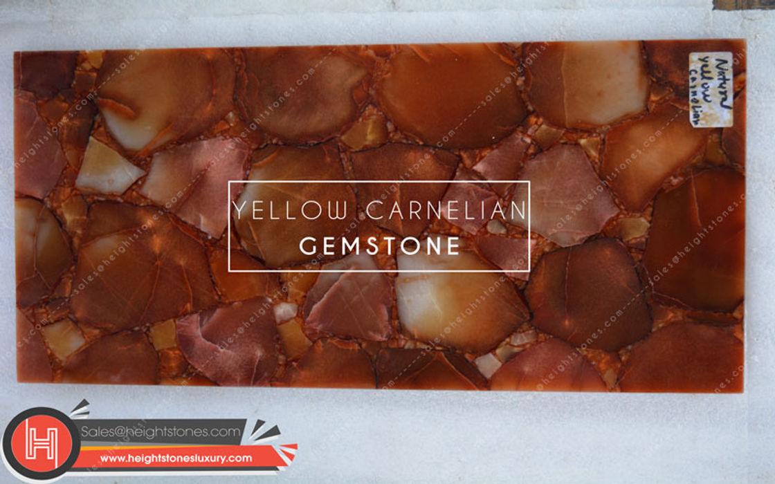 Natural Yellow Carnelian slabs - height stones luxury Height Stones