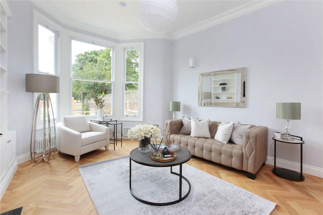 Kitchen extension Richmond Design and Build London Renovation Modern living room Concrete White