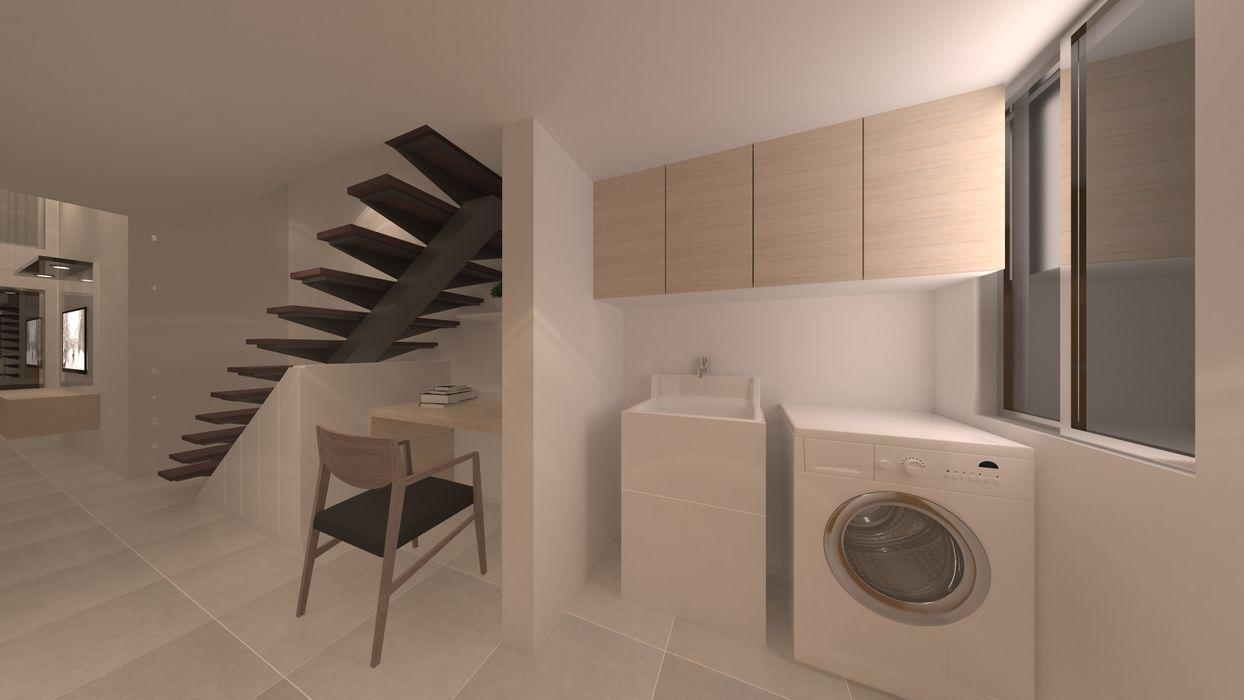 | PROYECTO LOFT | - Vista Lavandería Giovanna Solano - DLuxy Muebles Design Anexos de estilo clásico Aglomerado Beige