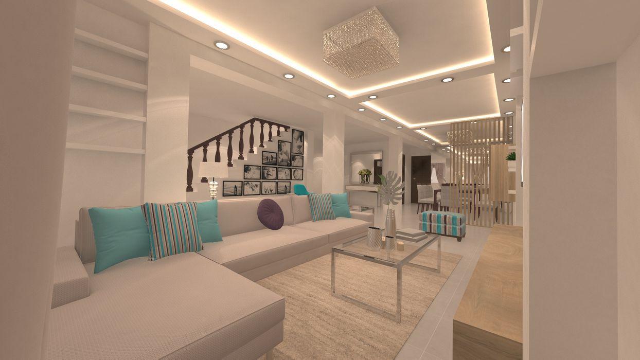   PROYECTO SALA - COMEDOR   - Vista Sala Giovanna Solano - DLuxy Muebles Design Salas de entretenimiento Aglomerado Beige