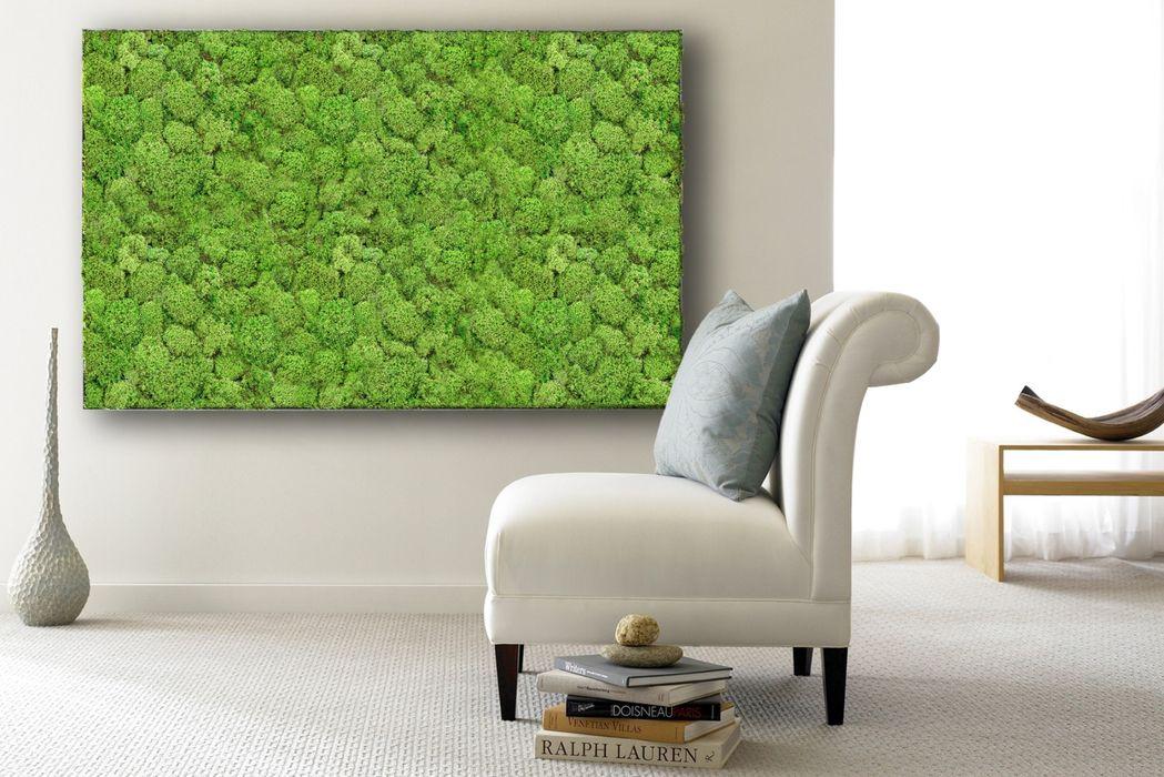 Moosbild aus Flachmoos arts&more Moderne Wohnzimmer Grün
