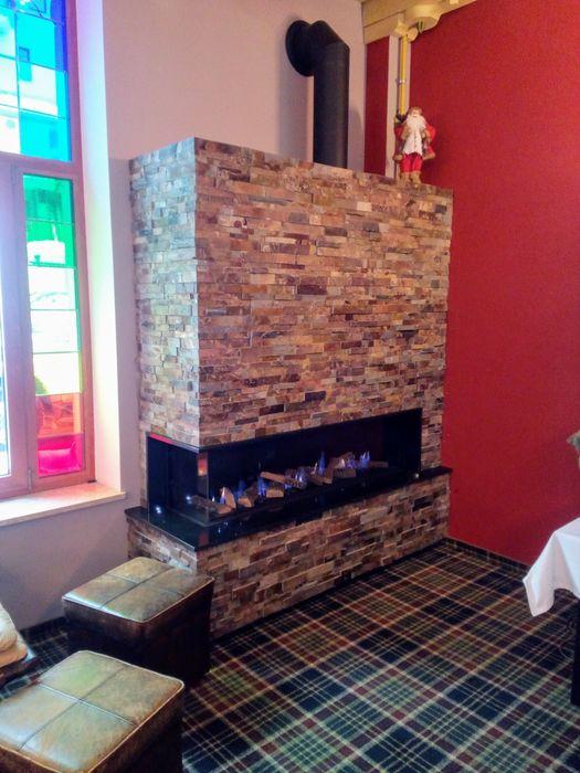 Kominki Miro-Les Foyers Modern Oturma Odası Taş Kahverengi
