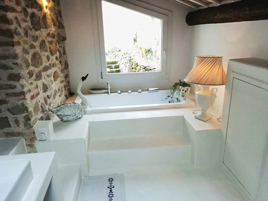 rivestimento bagno in malta resinosa bianca Pavimento Moderno BagnoDecorazioni Sintetico Bianco