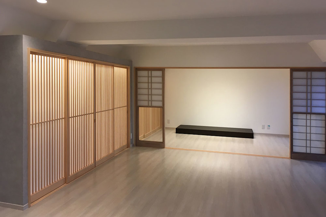 マンションのリフォームにおけるライティングデザイン 東京デザインパーティー|照明デザイン 特注照明器具 和風デザインの リビング