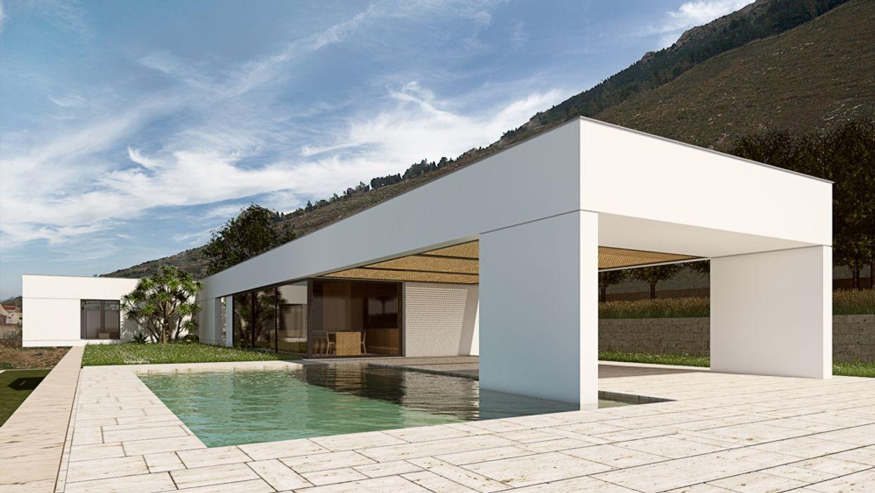 Contemporary House in Sicily ALESSIO LO BELLO ARCHITETTO a Palermo Piscina moderna Pietra Bianco
