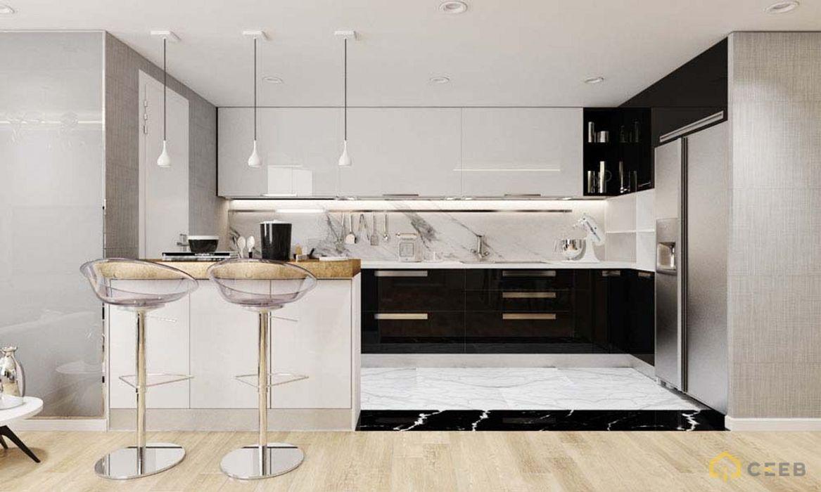 thiết kế nội thất bếp căn hộ sang trọng Novaland Quận 2 nội thất căn hộ hiện đại CEEB Nhà bếp phong cách hiện đại