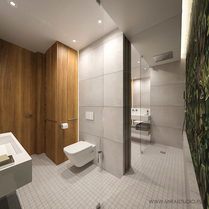 MIRAI STUDIO Modern style bathrooms Concrete Grey