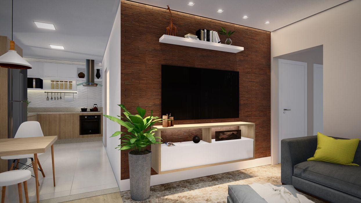 Studio MP Interiores Modern Living Room Wood Wood effect