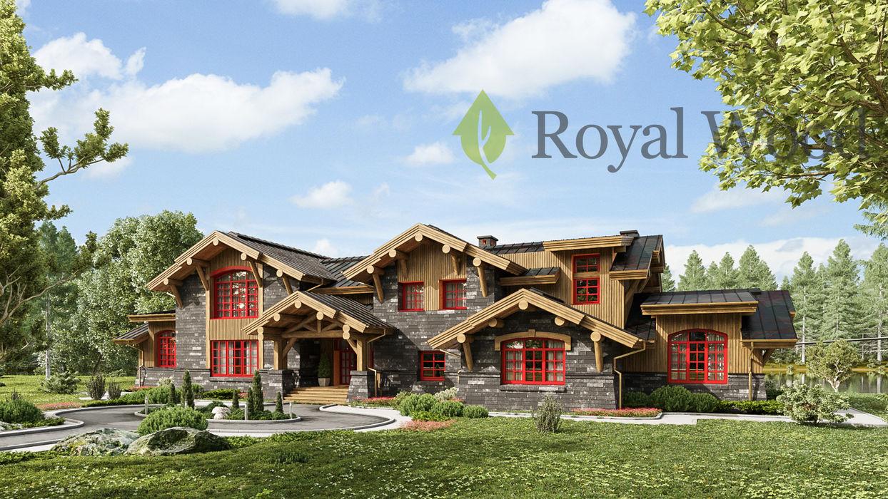 Фасад деревянного дома по безусадочной канадской технологии Тембор, 600м2 Роял Вуд Деревянные дома