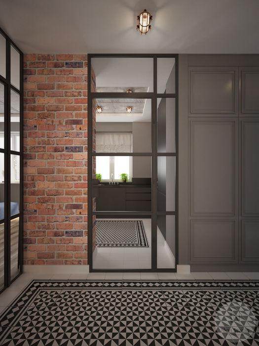 Korytarz Nevi Studio Industrialny korytarz, przedpokój i schody Cegły