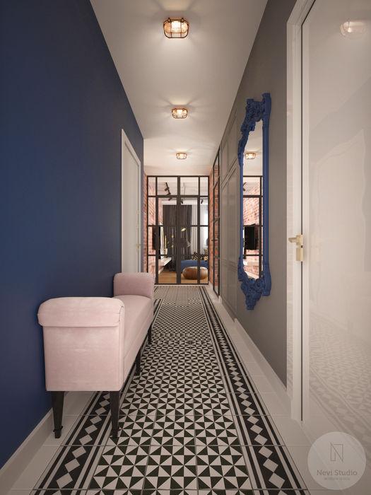 Korytarz Nevi Studio Industrialny korytarz, przedpokój i schody Niebieski