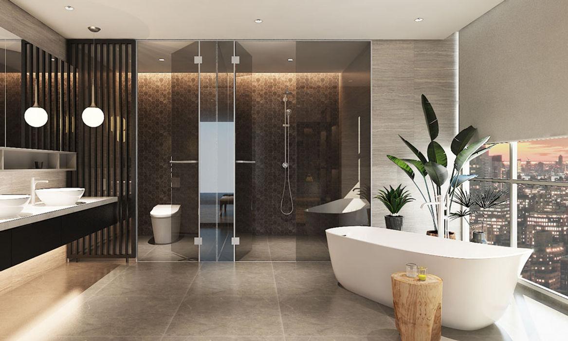 Thiết kế nội thất căn hộ Penthouse hiện đại Bluesky do CEEB Architects thiết kế. CÔNG TY THIẾT KẾ NHÀ ĐẸP SANG TRỌNG CEEB Phòng tắm phong cách hiện đại