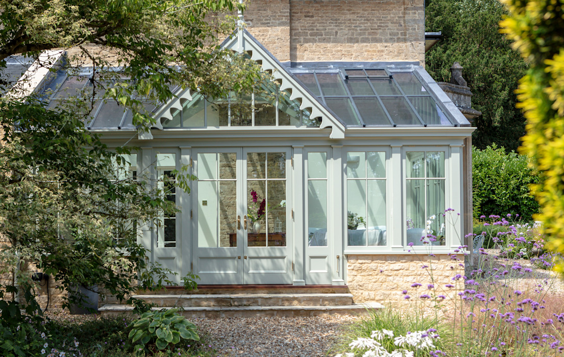 An elegant period property with a bespoke conservatory that includes design features mirrored from the house Vale Garden Houses Classic style conservatory Wood Green