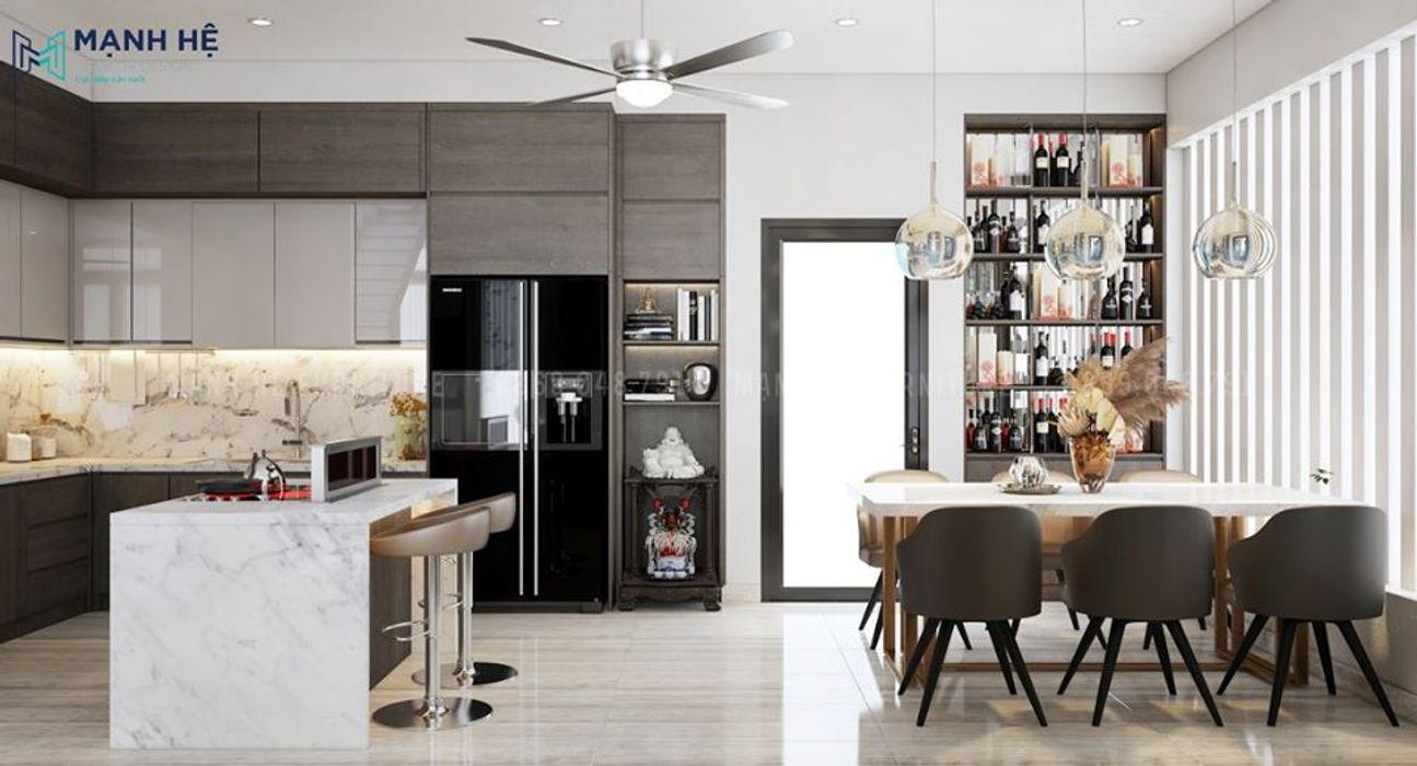Tủ rượu âm tường có cửa kính tăng tính thẩm mỹ tuyệt đối Công ty Cổ Phần Nội Thất Mạnh Hệ Nhà bếp phong cách Bắc Âu