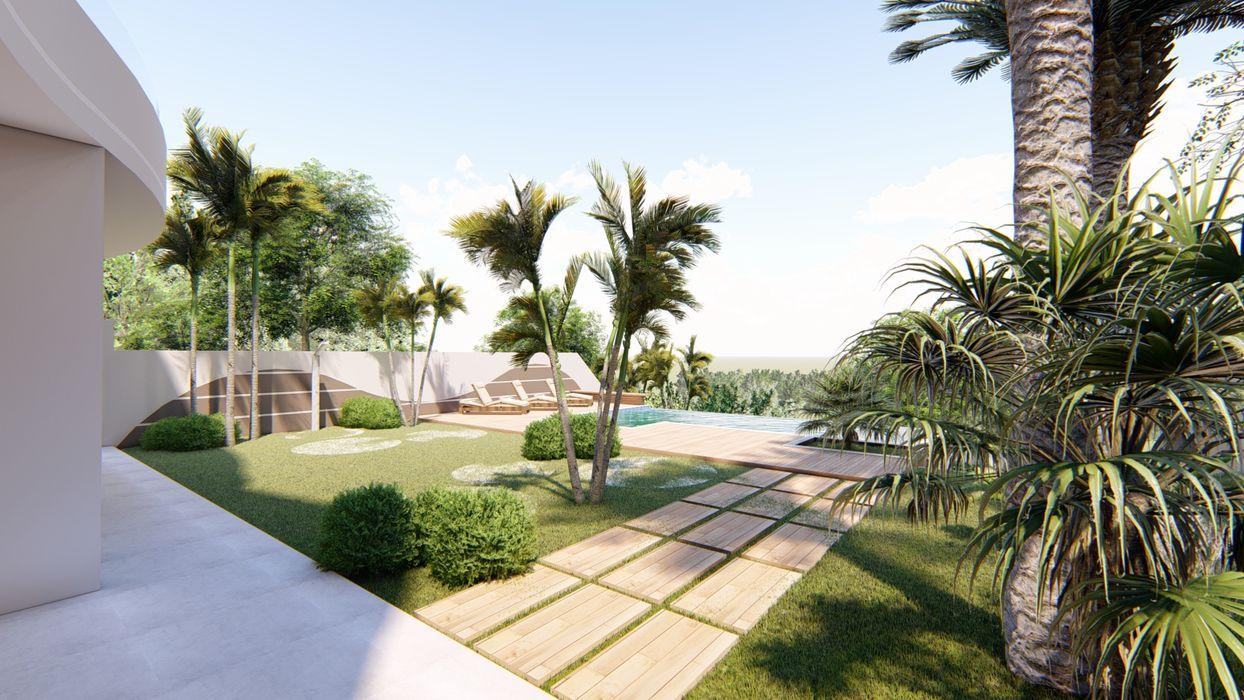 Acesso a piscina AJR ARQUITETURA Jardins clássicos Concreto Branco