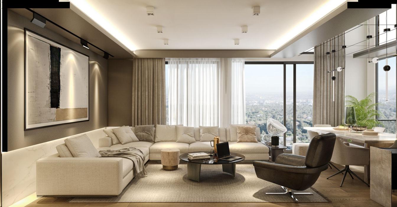 KONUT PROJESİ WALL INTERIOR DESIGN Modern Oturma Odası