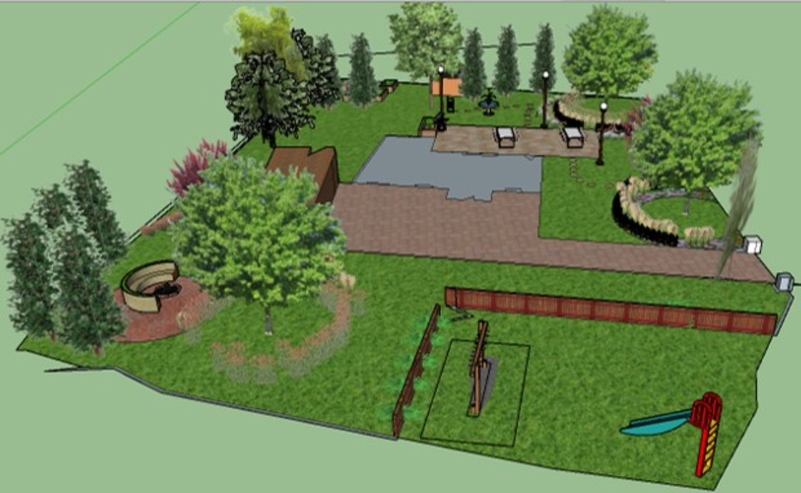 3D software Elevation showing the whole garden The Rooted Concept Garden Designs by Deborah Biasoli Country style garden