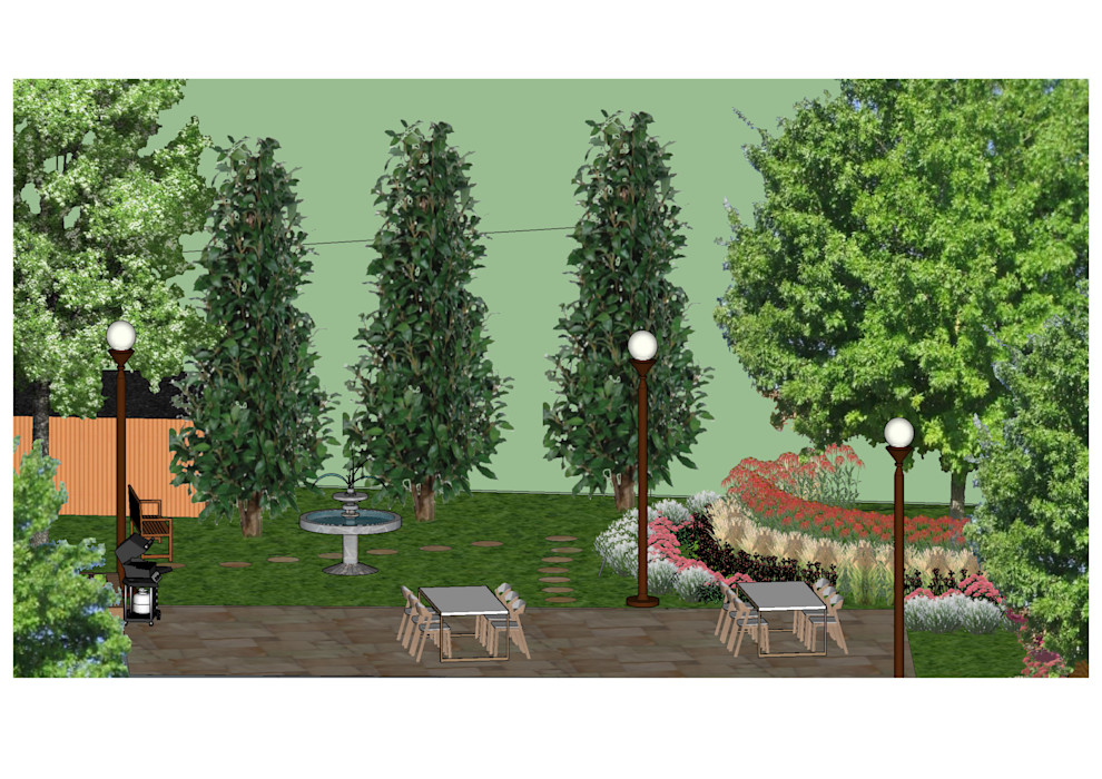 3D software elevation showing the large patio area The Rooted Concept Garden Designs by Deborah Biasoli Country style garden