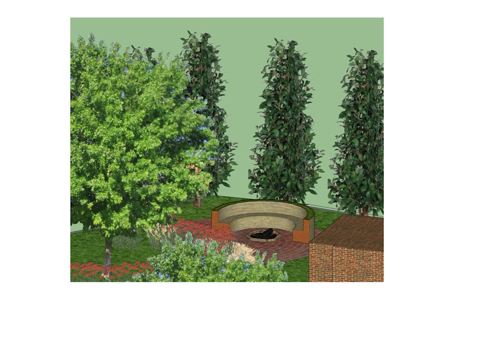 3D software elevation showing the shady cozy round seating area with firepit The Rooted Concept Garden Designs by Deborah Biasoli Country style garden