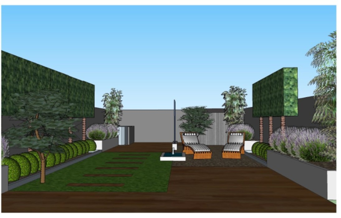 3D software elevation of garden view from the house The Rooted Concept Garden Designs by Deborah Biasoli Modern garden