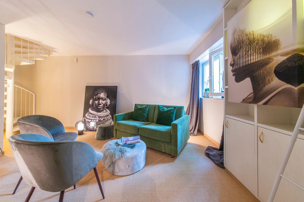 Souterrain - Gestaltung als Gästebereich Münchner home staging Agentur GESCHKA Klassische Arbeitszimmer