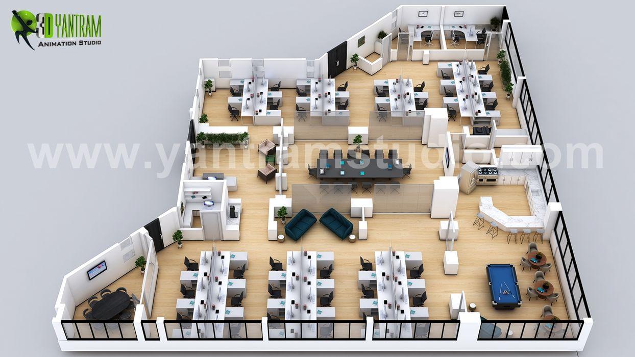 Professional 3D Commercial Office Virtual Floor Plan Design with Modern Interior by Architectural Design Studio, Paris - France Yantram Architectural Design Studio Corporation گلخانه Brown