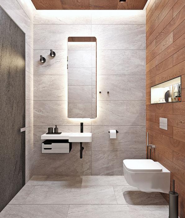 Санузел в бане Студия дизайна ROMANIUK DESIGN Ванная комната в стиле минимализм