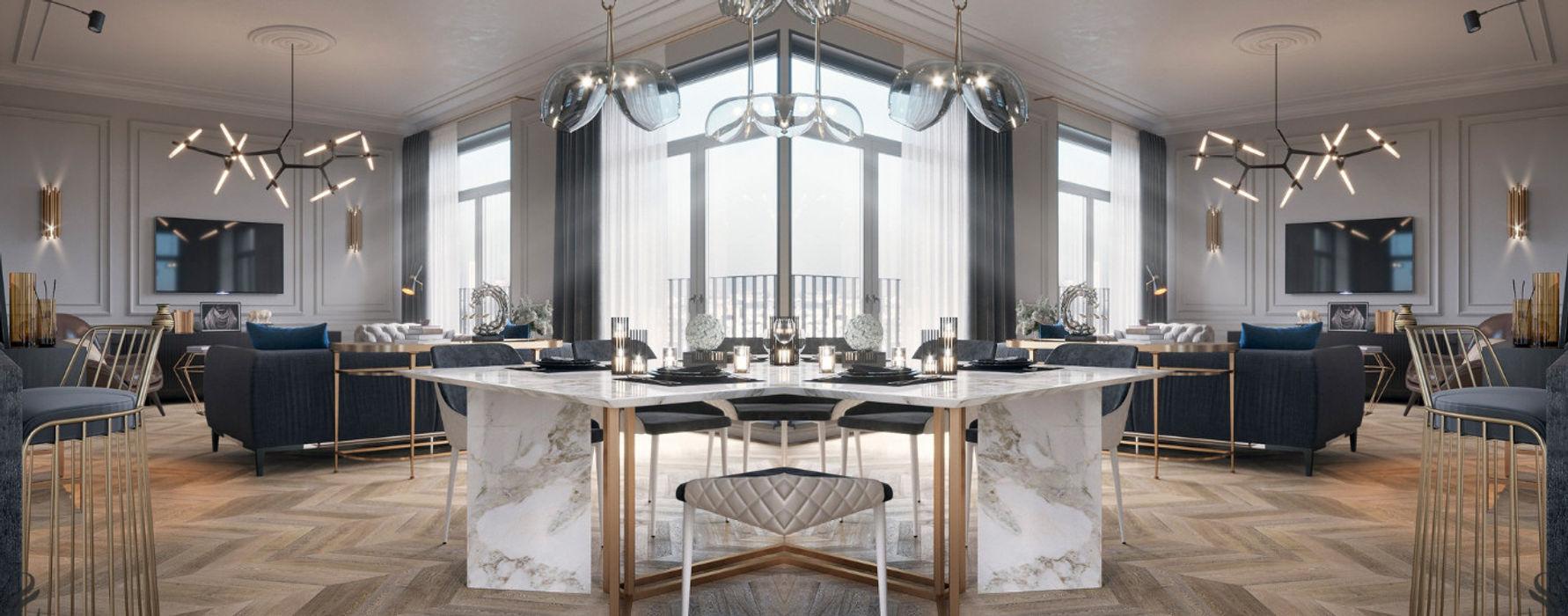Apartamento em Moscovo em estilo neoclássico DelightFULL Salas de estar modernas