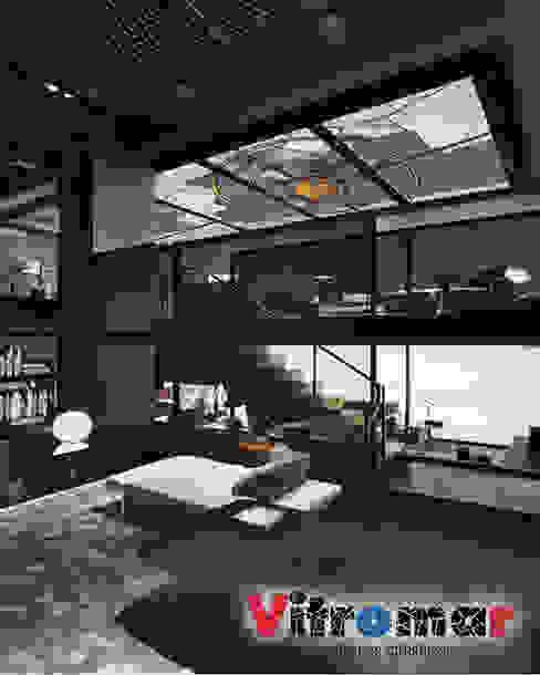 Techo vidriera loft negro de Vitromar Vidrieras Artísticas Moderno