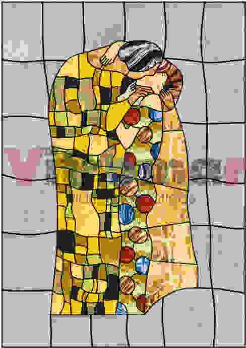 Vidriera El Beso, de Gustav Klimt de Vitromar Vidrieras Artísticas Ecléctico