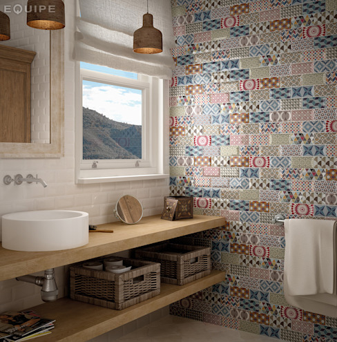 Metro White, Decor Patchwork 7,5x15 Baños mediterráneos de Equipe Ceramicas Mediterráneo Cerámico