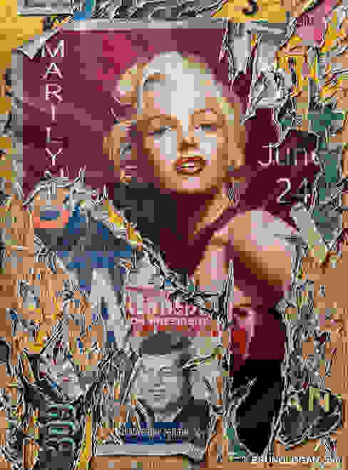 Marilyn déchirée - 73x54cm par Peinture en trompe-l'oeil Éclectique