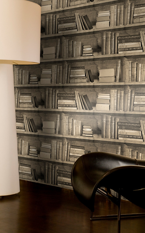 Sepia Bookshelf Wallpaper by Mineheart od Anthea's Home Store Klasyczny