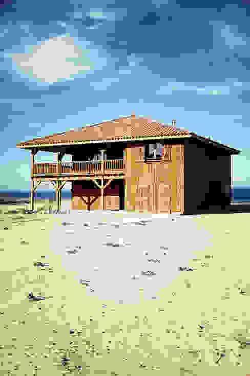 Projekty,  Dom z drewna zaprojektowane przez EURL Cyril DULAU architecte, Śródziemnomorski