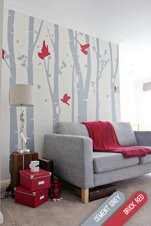 Birch tree forest wall sticker with red birds por Vinyl Impression Moderno