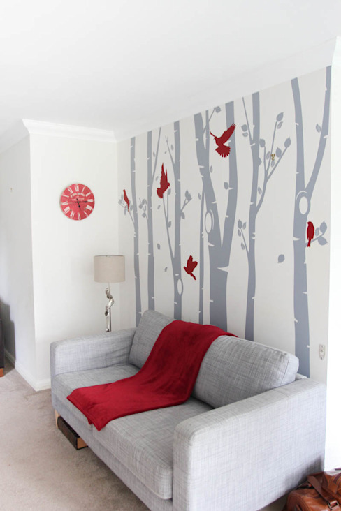 Birch tree forest wall sticker with red birds od Vinyl Impression Nowoczesny