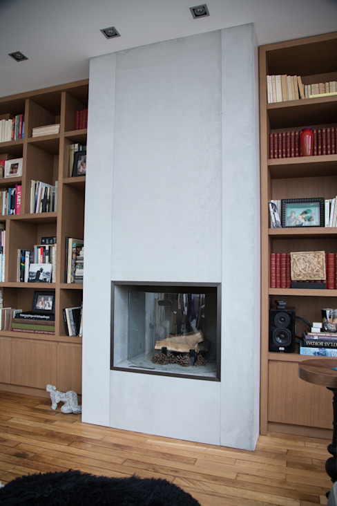 Concrete Fireplace in PANBETON®, Living-room Concrete LCDA Dapur Modern