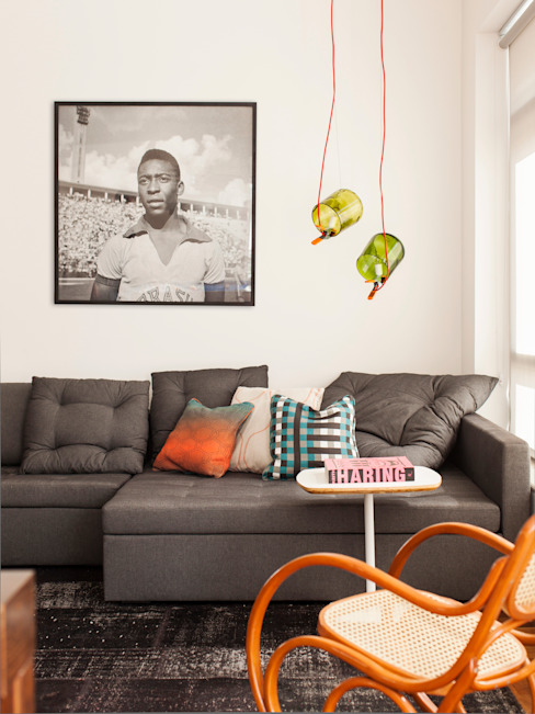 Salas de estar ecléticas por Mauricio Arruda Design Eclético