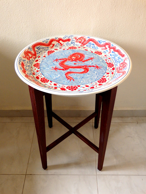 Dragon dish table:   by Art From Junk Pte Ltd,