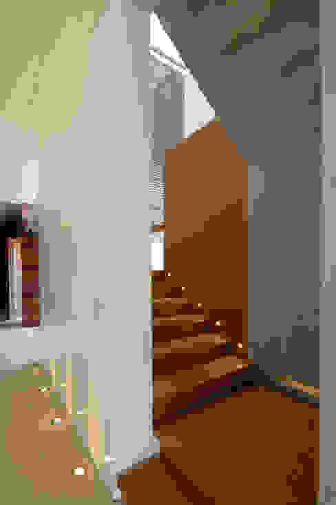 Pasillos, vestíbulos y escaleras de estilo moderno de Hernandez Silva Arquitectos Moderno