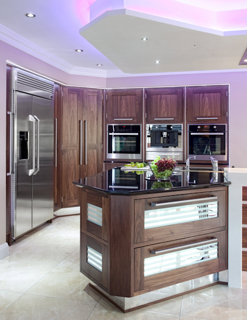 Modern Walnut Kitchen Island: modern  by Kitchens Continental Ltd, Modern